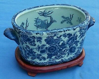 Chinese Oval Blue White Early 19th c Fish Bowl With Fish Scenes Inside c 1810