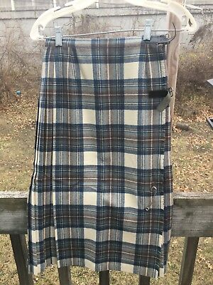 British made plaid women's Kilt 100% Wool Blue  Pin Selfridges 34 Bust 36 hips.