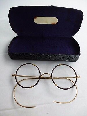 Antique Vintage Round Lens Faux Tortoiseshell Gold Metal Eye Glasses Spectacles