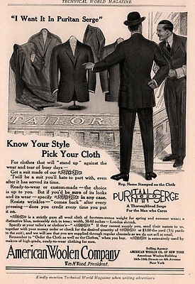Ad Lot Of 2 1913 - 14 Ads American Woolen Co Mens Clothing