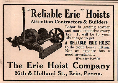 Ad Lot Of 2 1915 - 17 A  Ads  Erie Clutch And Pulley Co Hoist