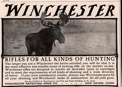 Ad Lot Of 2 Early Ads Winchester Rifle  Moose .351