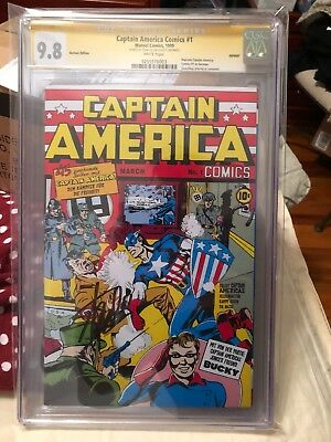 Captain America 1 Cgc 9.8 Signed By Stan Lee German Reprint Edition