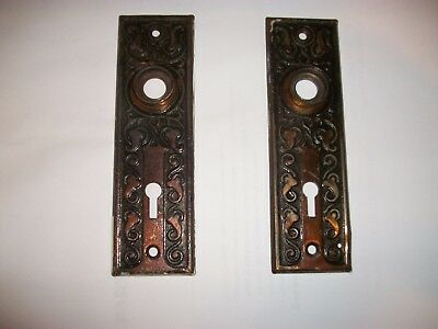 Pair Antique Escutcheon Eastlake Cast Iron Door Knob Back Plates With Key Hole