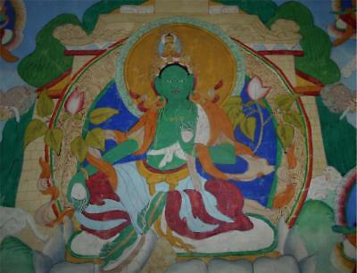 Antique Tibet TOP RARE HIGH AGED CANVAS BUDDHIST THANGKA PAINTING GREEN TARA