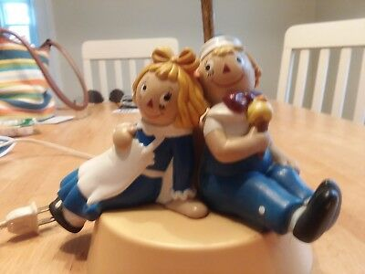 vintage nursery lamp with night light. Raggedy Ann and Andy