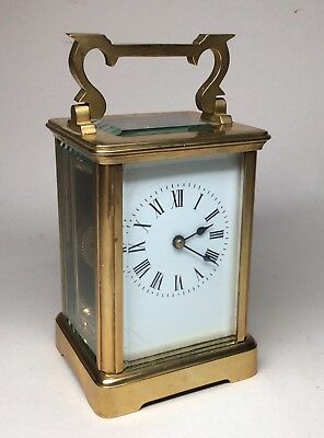 Good Late Victorian Solid Brass French Carriage Clock. Not Fusee Bracket Mantel