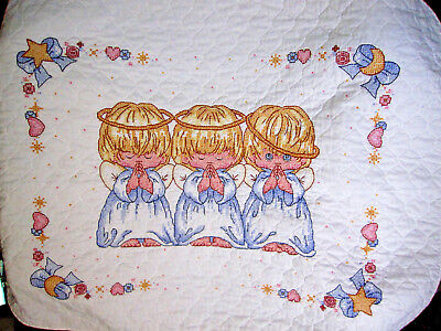 """Cross Stitch Baby Quilt - Completed - Angels - Light Weight 32 X 42"""" - EXC."""