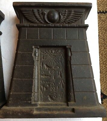 Antique, Cast Iron, Egyptian Pyramids Style Hieroglyphics Pair Of Bookends.