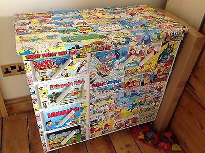 vintage retro childrens beano and dandy covered cupboard great for nursery