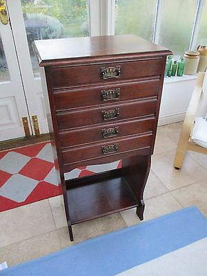 antique music cabinet, arts & crafts/art nouveau era, with drop front drawers