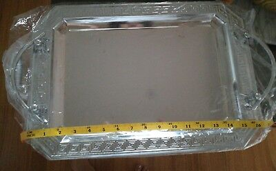 stainless steel serving tray rectangle with handles
