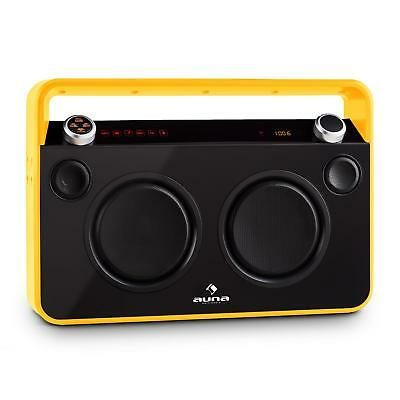 Ghettoblaster Boombox Auna Bluetooth Usb Mp3 Ingressi Microfono Karaoke Giallo