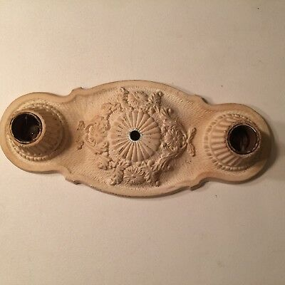 Antique Markel Electric Products Cast Iron Ceiling Light Fixture Two Bulb Socket