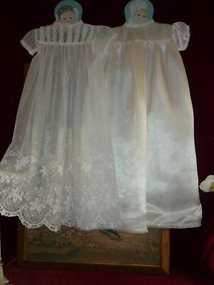 Sweet Vintage Embroidered Net Baby Gown & Satin Underdress GC.