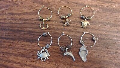 6 Nautical Wine Charms, 3 Silver 3 Gold Color
