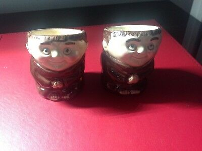 2 X Vintage Pottery Monk Egg Cup Made by Weiss in Germany