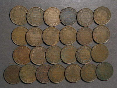 CANADA 1911-1920 1 Cent George V - Lot of 25 Coins Avg. Circulation