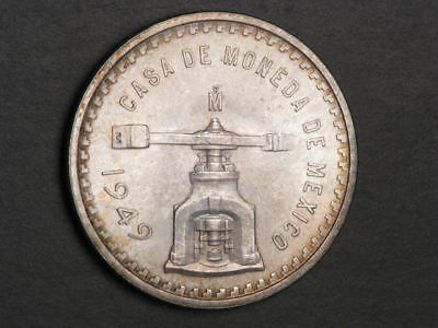 MEXICO 1949Mo 1 Onza Silver Crown UNC