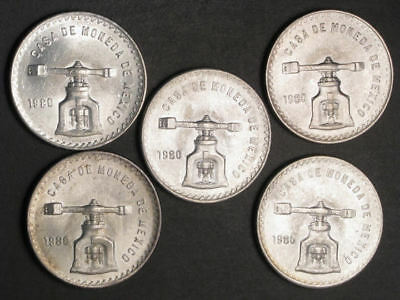 MEXICO 1980 1 Onza Silver Crown UNC - 5 Coins