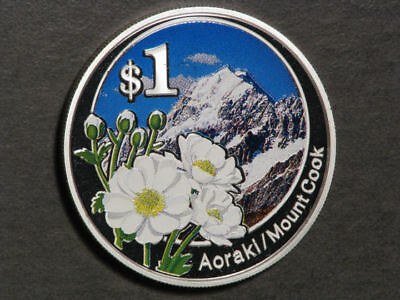 NEW ZEALAND 2007 $1 Mount Cook Colorized 1 Oz. Silver Proof