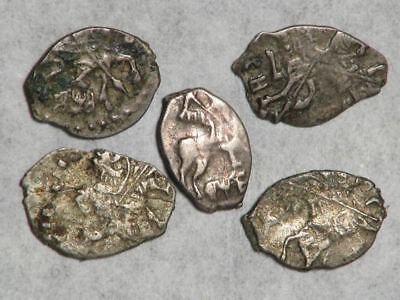 RUSSIA 1689-1725 Peter I 1 Kopek 'Wire Money' Silver - 5 Pieces