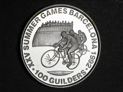 SURINAME 1992 100 Guilders Olympic Cycling Silver Choice Proof