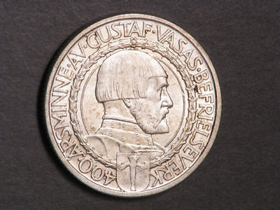 SWEDEN 1921W 2 Kronor 400th Anniv. Liberty Silver BU