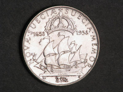 SWEDEN 1938G 2 Kronor Ship-Settlement of Delaware Silver BU