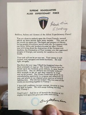 Band of Brother Rod Bain signed DDAY EISENHOWER LETTER