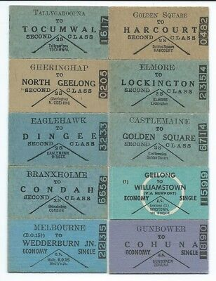 10 Victorian Country Single Tickets from Different Stations