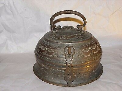 Antique 1800's Copper Hand Rare Mughal Islamic Carved Betel Nut Pandan Box