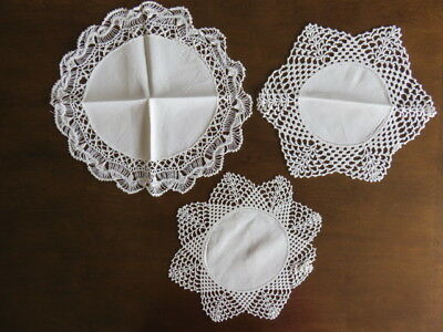 Lot Of 3 Vintage Linen Doilies -Crochet - Hairpin Lace - Off White -