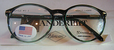 Vintage Vanderbilt 1 Demi Green 55/17 Spear Shield USA P3 Eyeglass Frame NOS