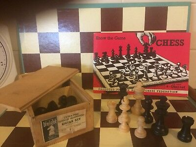 Vintage Chess Set Knight Book Board Complete France Staunton Turned Boxwood