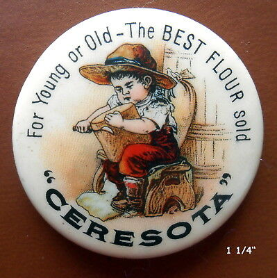 Ceresota for Young & Old, the Best Flour Sold, Celluloid Pinback, c. 1900's