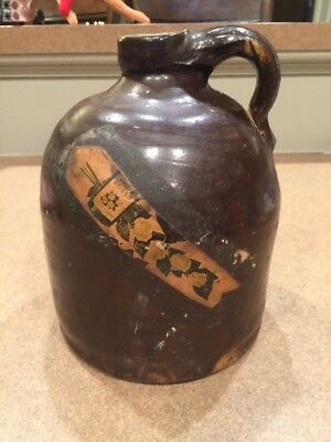 Antique Advertising Whiskey Jug Crock Four Roses Tag