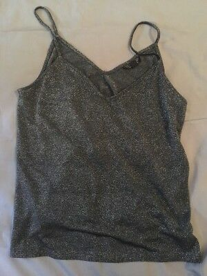 Topshop Size 10 Grey Glitter Cami Christmas Party