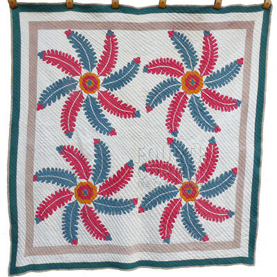 Dramatically Quilted Folky Four-Block PRINCESS Prince's FEATHER antique Quilt NR