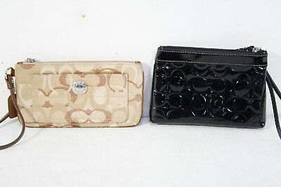 Lot 2 Coach Brown Black Signature Wristlet Purse