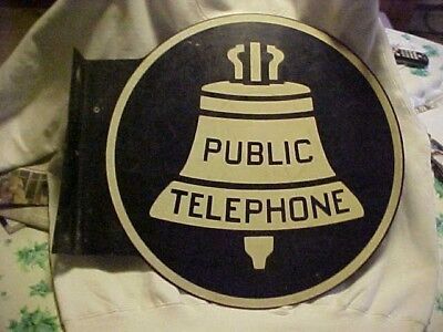 Vtg Public Telephone Phone Bell Enamel Sign Metal Double Sided