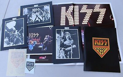 Rare Vintage 1976 Kiss Army Unused Promotional Kit Photos Folder Poster Papers