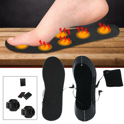 Electric Heated Shoe Insoles USB Pads Foot Heater Feet Warm Socks Ski Boot 36-46
