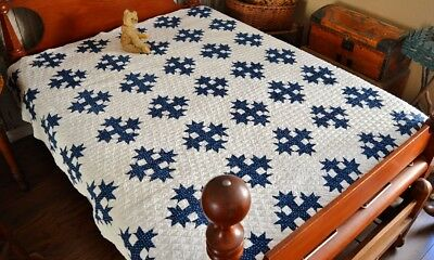 Antique 19th c Hand Stitched Blue Devils Claws Calico Quilt *