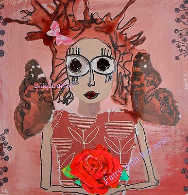 """print A4 size """"Fairy with her rose"""""""
