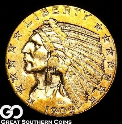 1909-D Half Eagle, $5 Gold Indian, Outstanding Bright Rich Color, Choice BU++!
