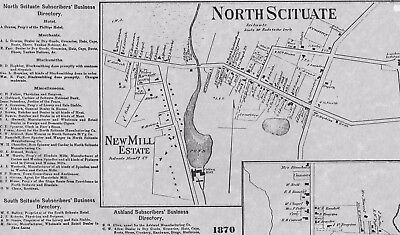 North Scituate Fiskville Arkwright Hope  RI 1870 Map with Homeowners Names Shown