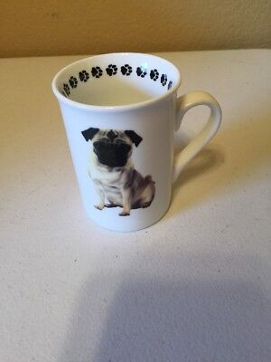 Pug Dog Coffee Mug Pets By Dimension White w/Brown Paw Prints