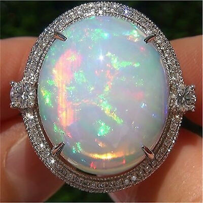 Exquisite Women Vtg 925 Silver White Fire Opal Wedding Proposal Ring Size 5-10