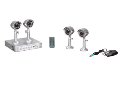 LILIN DVR204 KIT 4 Channel Analog DVR with 4 Outdoor Cameras, Remote and 500GB